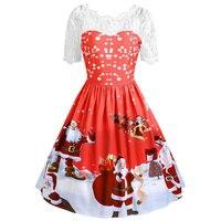 CharMma 2017 New Christmas Dresses Vintage Retro Women Lace Insert Midi Vestidos De Fiesta Winter Santa