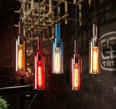 modern brief colorful glass stone bottle pendent lights cafe room/bar decoration single pendent lamps A032-1