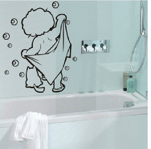 LOVELY Baby Love Shower Bathroom Bubble Wall Stickers Living Room Glass  Door Stickers Cute Children