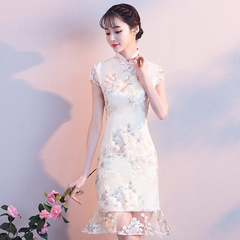 Champagne Classic Lace Fishtail Dress  Girl  Elegant Exquisite Cheongsam Mandarin Collar Qipao Novelty Oversize Vestidos