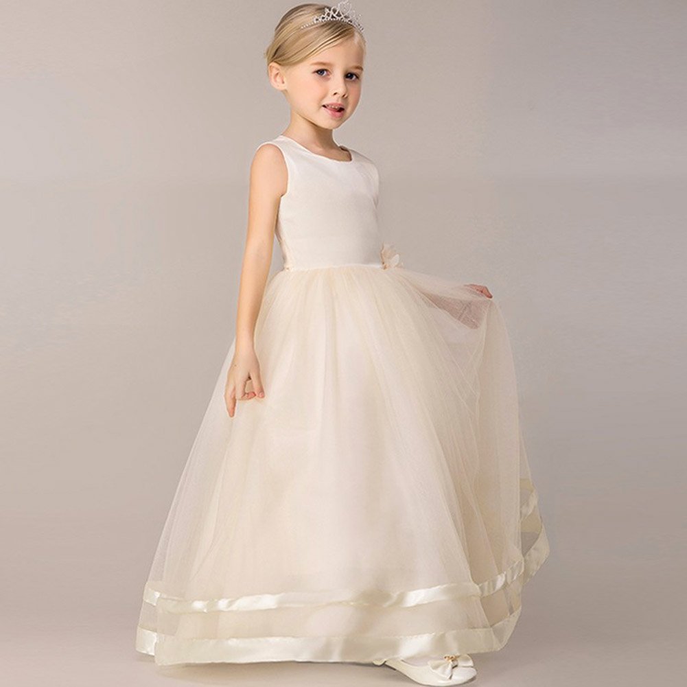 2017 Newest Kids CHild Girls Flower Princess Dress Kids Party Wear Sleeveless Dress Clothing Girls Wedding Dresses For 4-14Y girls europe and the united states children s wear red princess long sleeve princess dress child kids clothing red bow lace