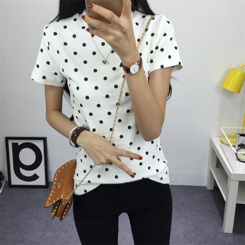 Női Ruházat 2019 Női nyári póló Ruha Ing O-nyak Polka pontozott rövid felsők alsó felsők Női alkalmi pólók