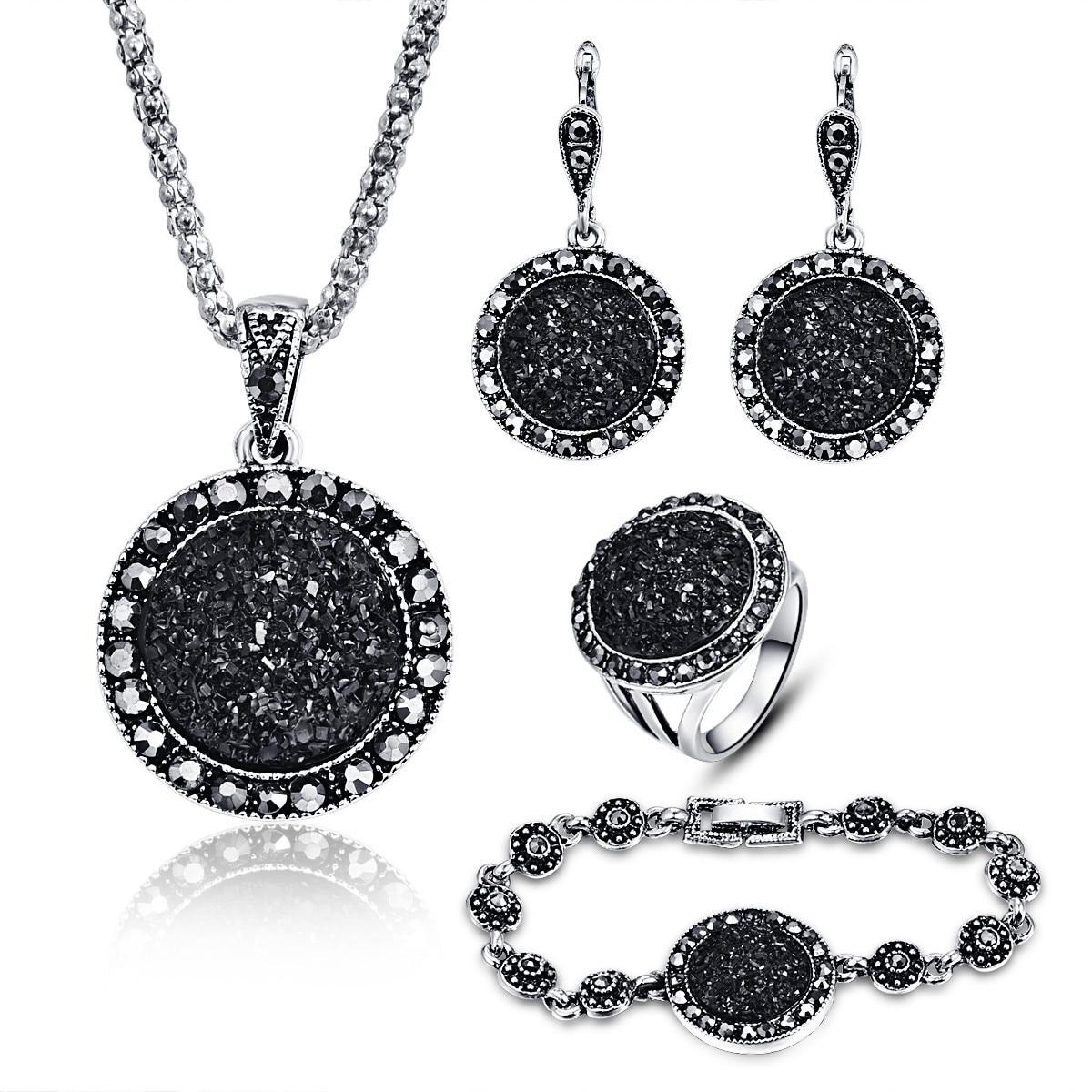 Womens fashion black round gravel resin necklace bracelet earrings ring four setWomens fashion black round gravel resin necklace bracelet earrings ring four set