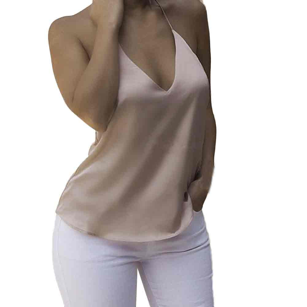 Khaki Sexy Backless Bandage Women Vest Solid Color Deep V Neck Camisole Fashion Loose Bottom Shirt Chiffon Blouse Moda Mujer#Y5
