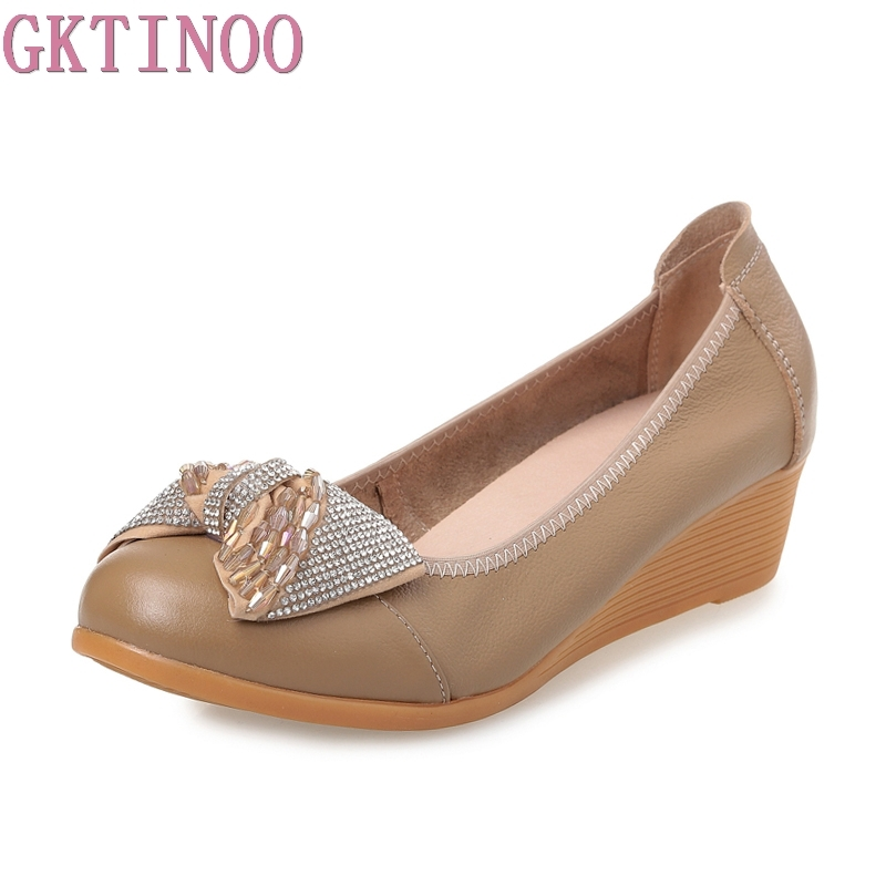 GKTINOO 2018 new fashion high heels women pumps women genuine leather wedge shoes woman single casual shoes women shoes Big Size домкрат lom 1550271