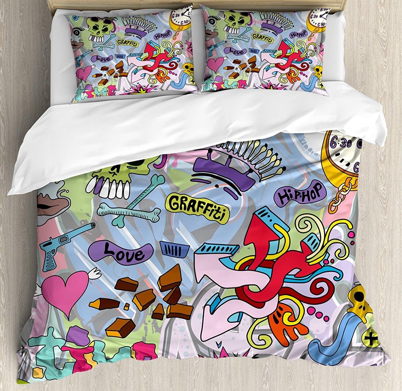 Книги по искусству постельное белье Хип хоп стиле красочные граффити Doodle Crazy Love время Прохладный Череп улица Книги по искусству принт, 4 шт. П