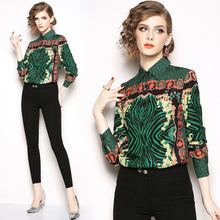 92537f225c2741 2019 Spring Autumn Women Tops Blouses Long Sleeve Baroque Pattern Print  Chiffon Blouse OL Work Wear