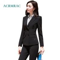 ACRMRAC women suits slim Ribbon lacing jacket suit pants OL Formal women pants suits womens business suits