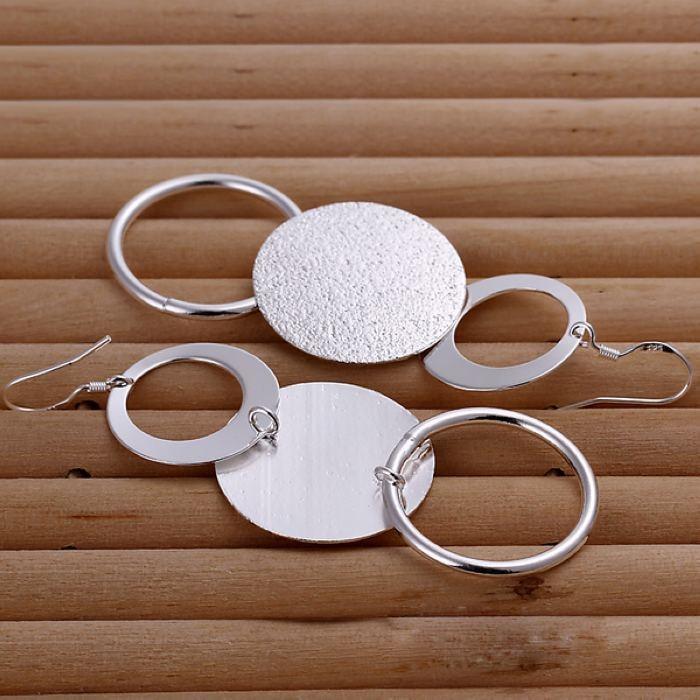 Silver color creative for women lady charms cute wedding fashion Double circle earrings Circular shape silver earrings E012 3