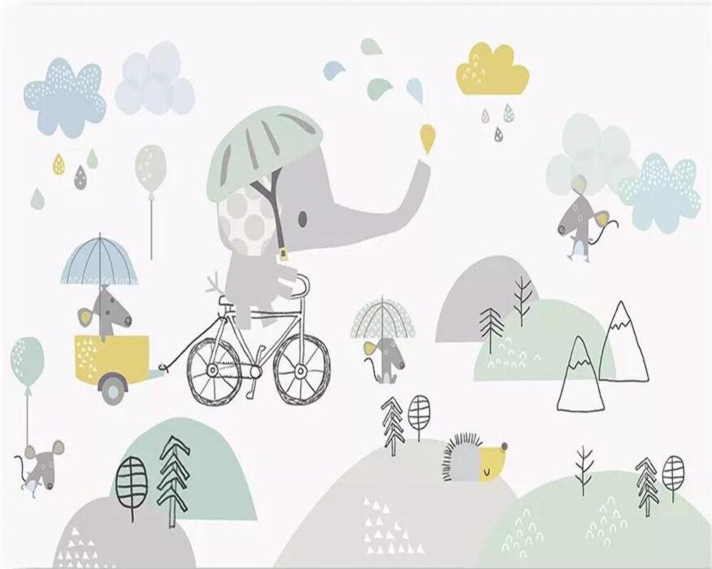 Купить с кэшбэком beibehang Custom wallpaper baby room cute cartoon elephant riding bicycle hamster cloud children background walls 3d wallpaper