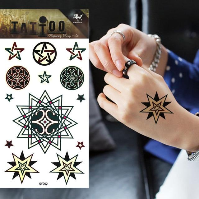 1 Szt Luminescencyjne Tymczasowe Tatuaż Gwiazda Projektu Tattoo