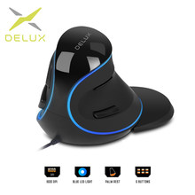 Delux M618 Plus — Souris verticale filaire ergonomique 1600 DPI, pour PC, périphérique, manette pratique avec lumière LED bleue, 6 boutons de fonction et repose-paume pour PC de bureau
