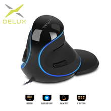 Delux M618 Plus ergonomique Vertical filaire souris 6 boutons 1600 DPI lumière bleue led souris dordinateur avec repose paume pour PC bureau