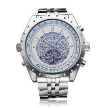 JARAGAR Brand Luxury Automatic Mechanical Silver Stainless SteelMen Wrist Watch Calendar Men s Watches 2016 New