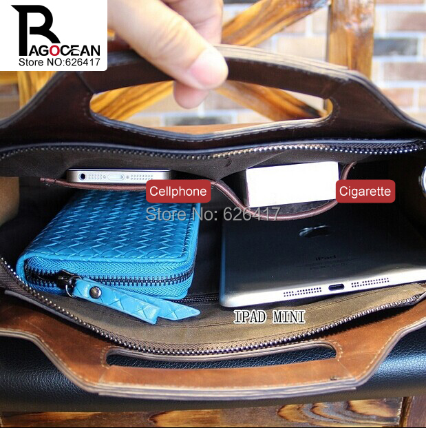 Nuevo estilo crazy horse pu leather men business maletín bolsa - Bolsos - foto 5
