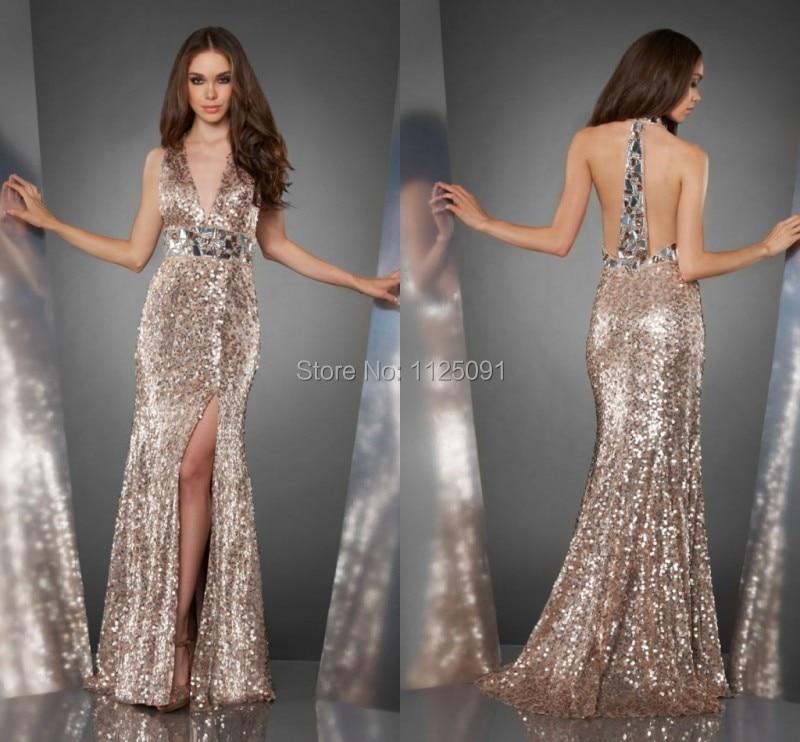 2019 v-cou sirène avant fente longues robes de soirée argent Sequin tissu strass étincelle luxueux robes formelles sur mesure