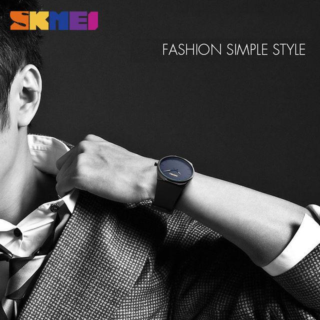 SKMEI Men Quartz Watches Fashion Casual Ultra Thin Wristwatches 30M Waterproof Simple Black Watch Relogio Masculino 1601S