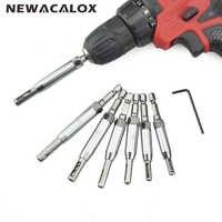 NEWACALOX 7pcs/lot HSS Hinge Hole Opener Carpenter Puncher Dilating Six Hexagonal Drill Bits for Door/Window Power Accessories