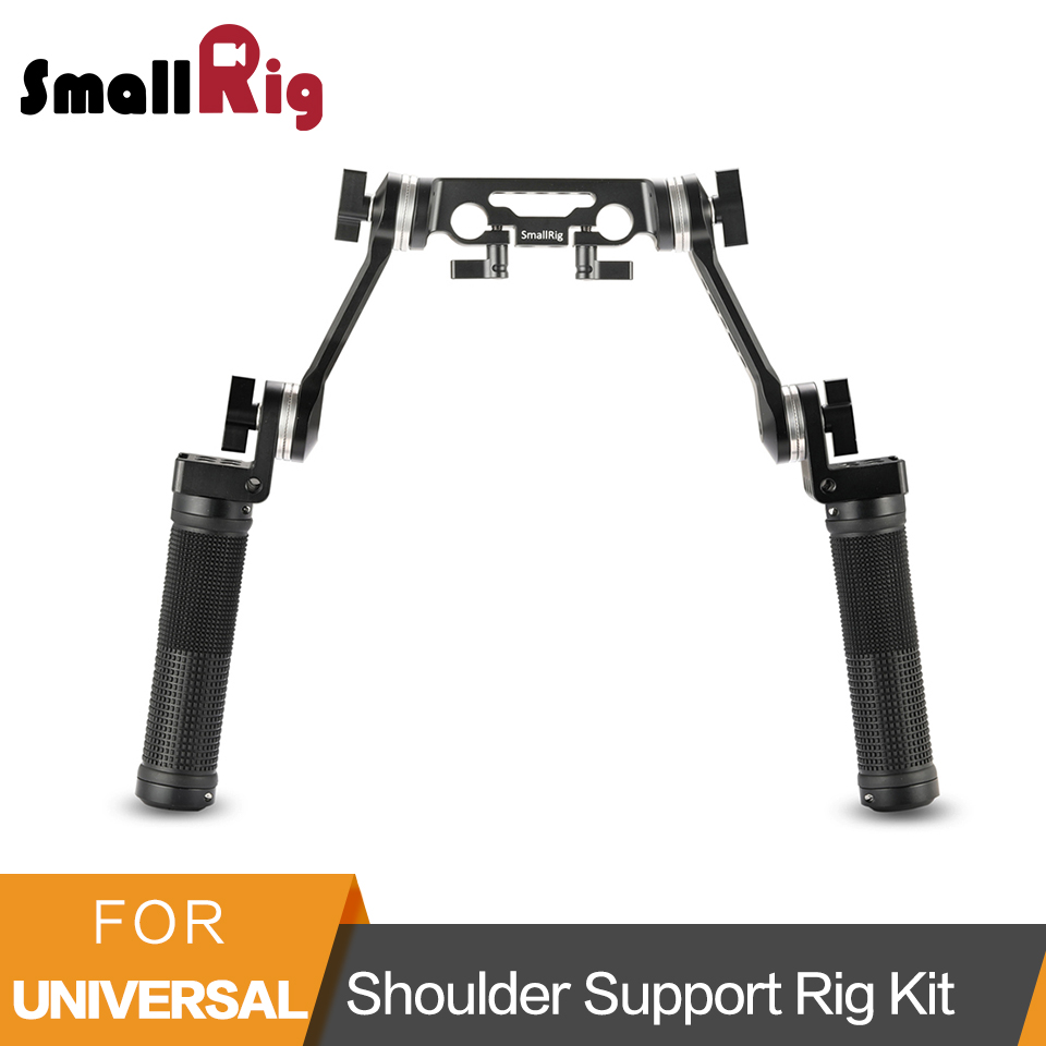 SmallRig Rubber Shoulder Support Rig Kit Arri Rosette Rig Shoulder Mount Stabilizer Handle Kit with 15mm Rod Clamp Mount - 2002 smallrig camera grip qr cheese handle with 15mm rod clamp and an arri rosette screw hole multiple functions handle 1688
