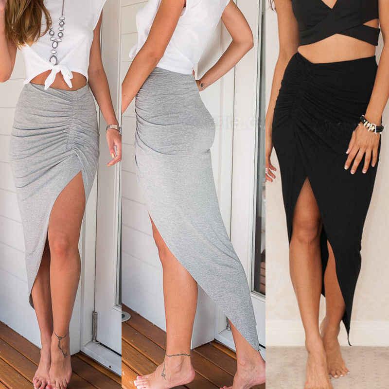 Womens Maxi Skirt mini Wrap Asymmetrical Stretch Bodycon Club