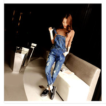 FEITONG Jeans for ladies Fashion Ripped Hole Denim Casual denims Loose Trousers Pants Romper Jumpsuits Autumn Long Mid Overalls