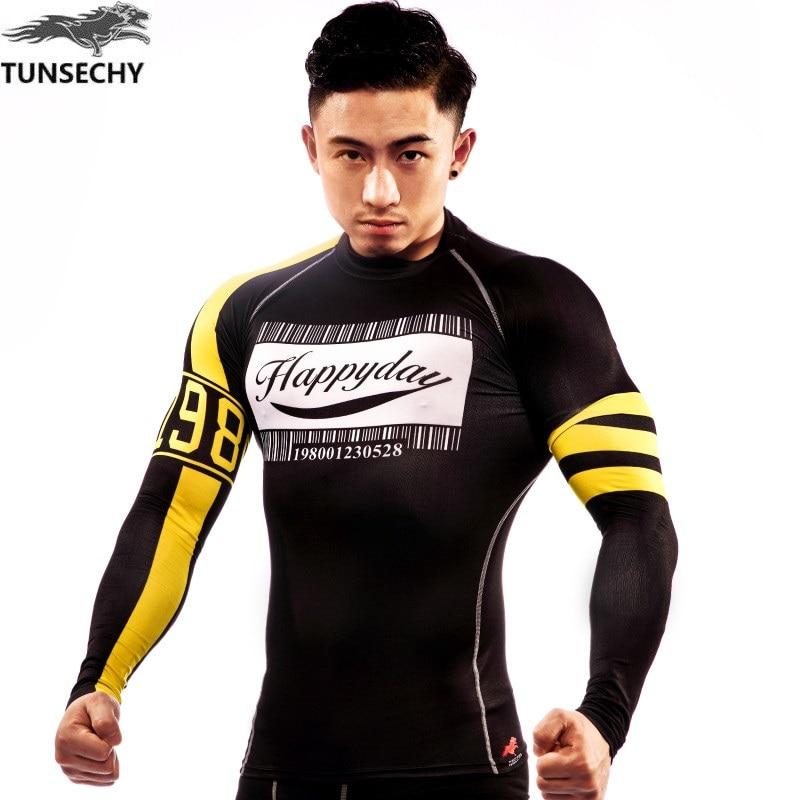 NAUJAS TUNSECHY Prekės ženklo kompresinių trikotažinių drabužių ilgomis rankovėmis Kvėpuojančios Superelastinės dviračių dėžės Crossfit vyrų ilgomis rankovėmis marškinėliai