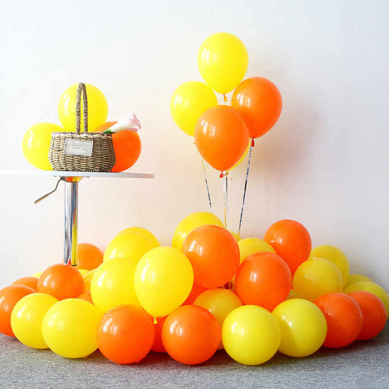 10pcs 12inch 5inch Macaron Ballons Birthday Wedding Party Supplies Latex Balloons Inflatable Air Balls Yellow Baloon Ballon Kids