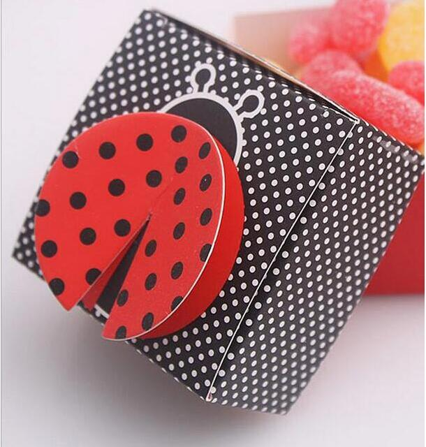 Baby Shower Favors Ladybug free shipping 100pcs baby shower candy box, 3d wing ladybug baby