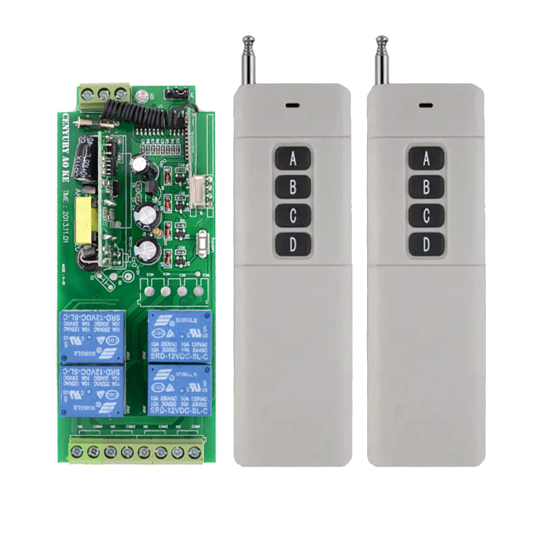 Long D istance AC85v~250V 110V 230V 4CH Wireless Remote Control Switch 220V Relay Output Radio RF Transmitter Receiver ac85v 250v 110v 220v rf 4ch 1000m wide voltage multi function wireless remote control switch system