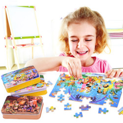 60pcs set wooden puzzle cartoon toy 3d wood puzzle iron box package jigsaw puzzle for child.jpg 250x250