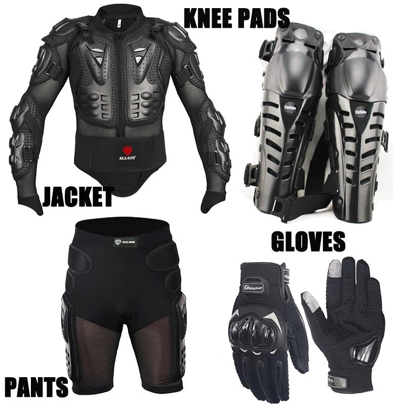 Un Ensemble Moto Protection Costumes Moto Veste Motocross Shorts Moto Genouillères Scooter Moto Gants