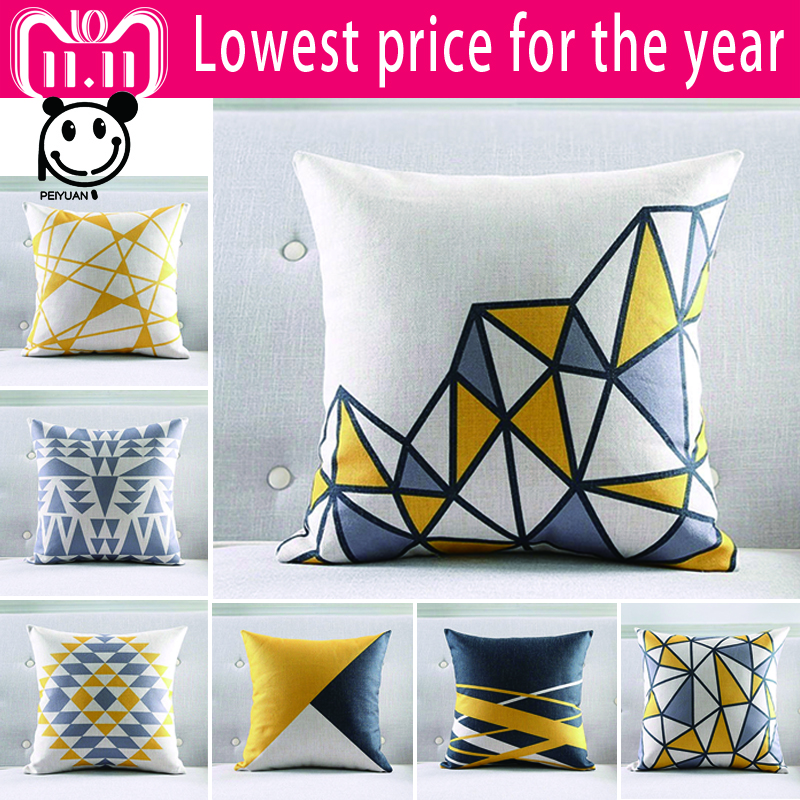 Nordic Style Geometric Cushion Covers Yellow And Blue Stripe Throw Pillow Cases Zebra Decorative Pillowcases Gift Moderate Price Home Textile