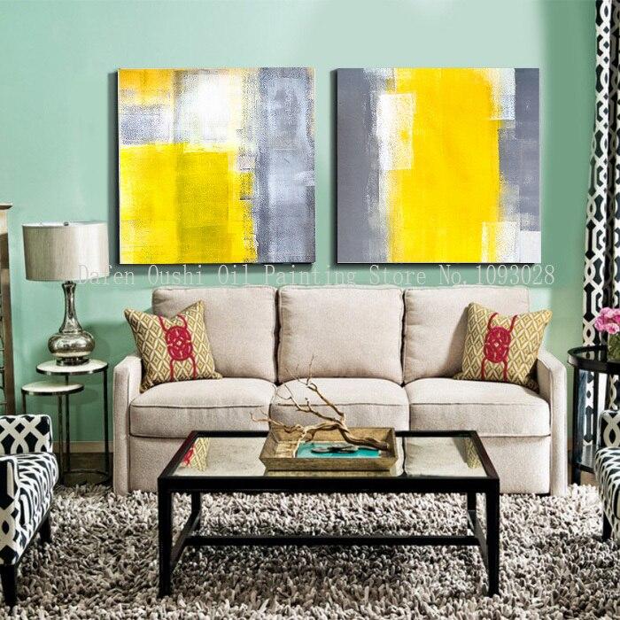 mano paitned envo gratis gris oscuro blanco amarillo grande una pintura abstracta moderna de