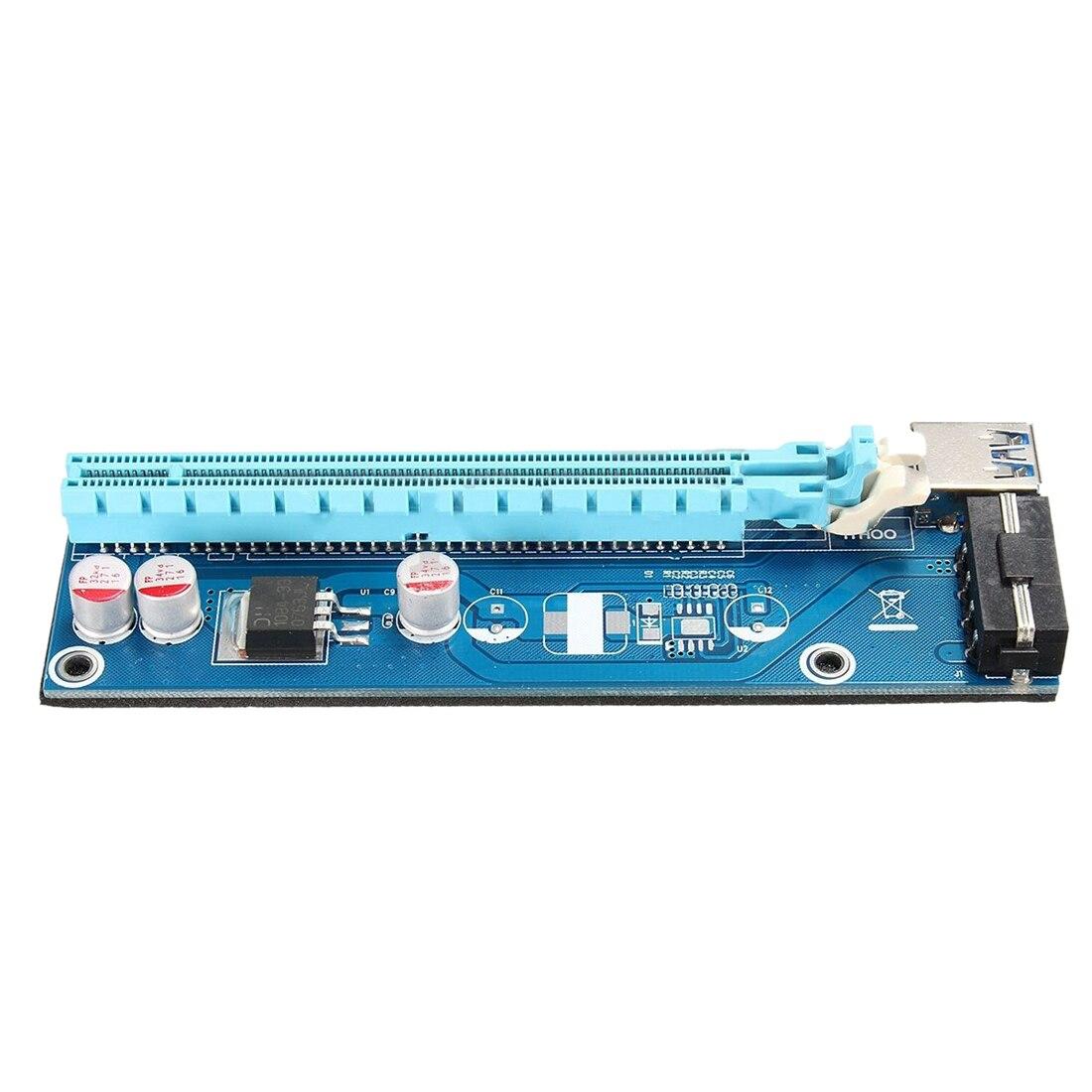 15 jeux USB3.0 PCI-E Express 1x à 16x rallonge carte Riser 4Pin SATA câble d'alimentation bleu