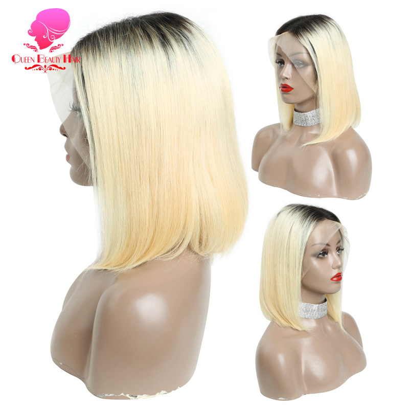 QUEEN 13 6 1B 613 Ombre Blonde Brazilian Straight Bob Wigs Human Hair Remy Short Pre