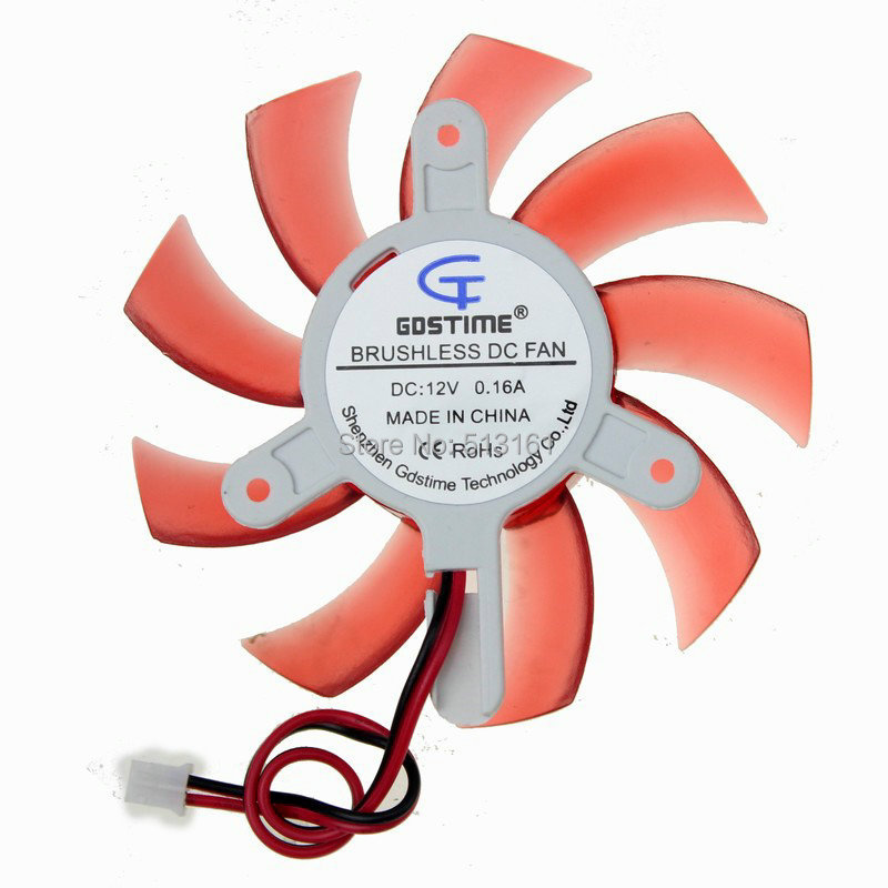 Gdstime PC VGA Placa de Vídeo Dissipador Cooler Fan 75mm 12 V DC 2Pin Vermelho