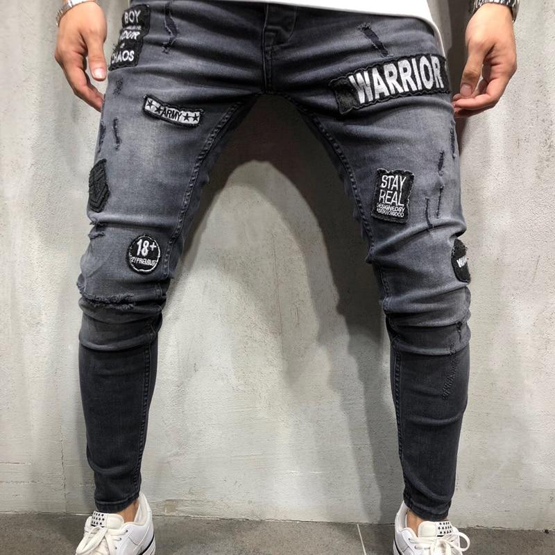 High Street men Ripped denim trousers Holes Hip Hop stretch Hem Zipper motorcycle distressed skinny biker   jeans   dropshipping