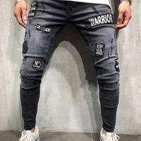 High Street men Ripped denim trousers Holes Hip Hop stretch Hem Zipper motorcycle distressed skinny biker jeans dropshipping