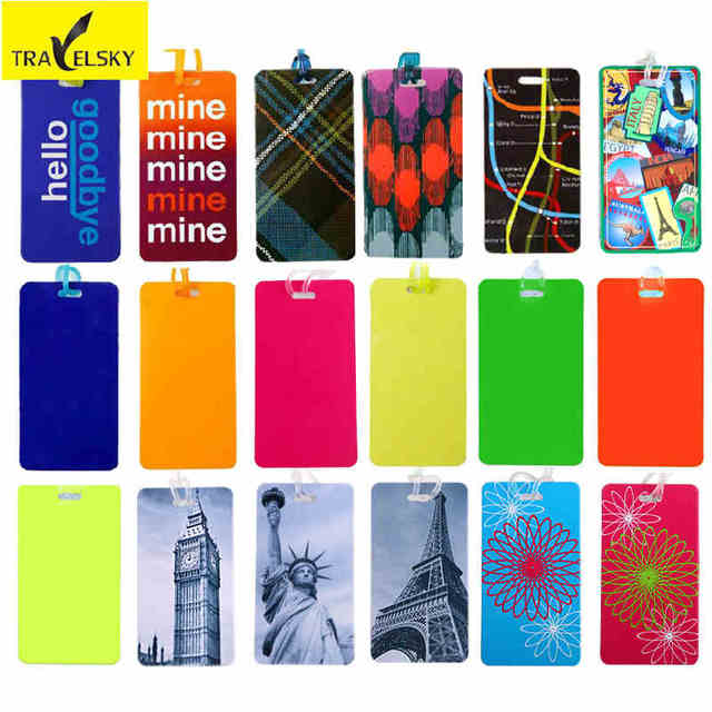 aeeda8df9216 2 pcs  lot Travel Accessories PVC Luggage tag multicolor mix Styles tags  business travel bag tag label and sign suitcase tags
