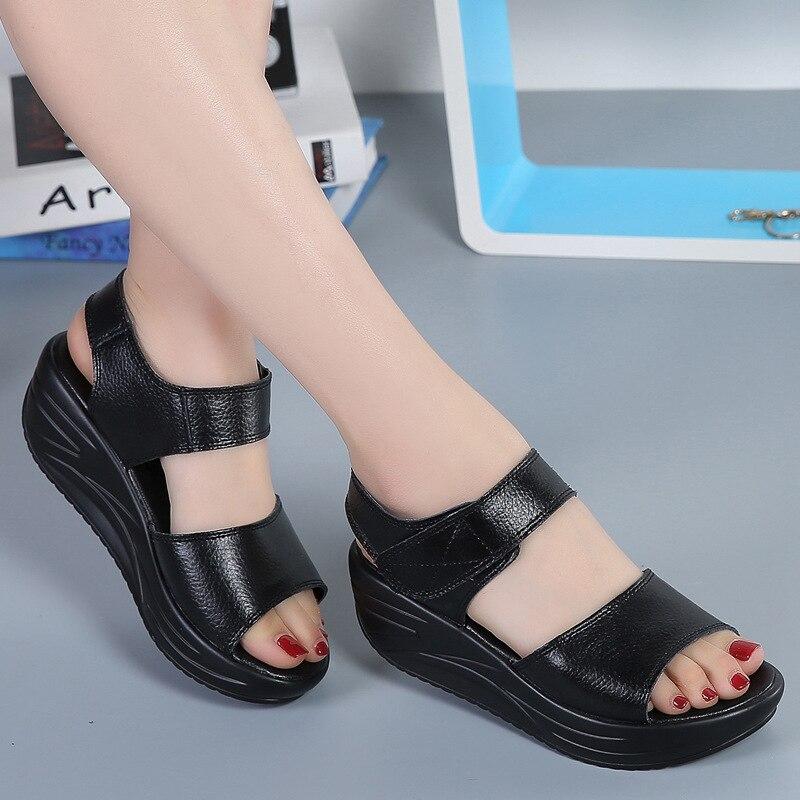 Женские сандалии на платформе DONGNANFENG, повседневные летние сандалии из натуральной кожи на липучках, для пляжа, AM-9018