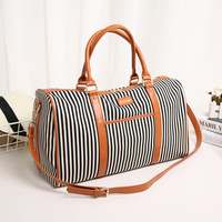 Canvas+PU Leather Women Travel Bag Fashion Striped Duffel Tote Large Weekend Bag Female Packing Cubes Suitcase Shoulder Bags