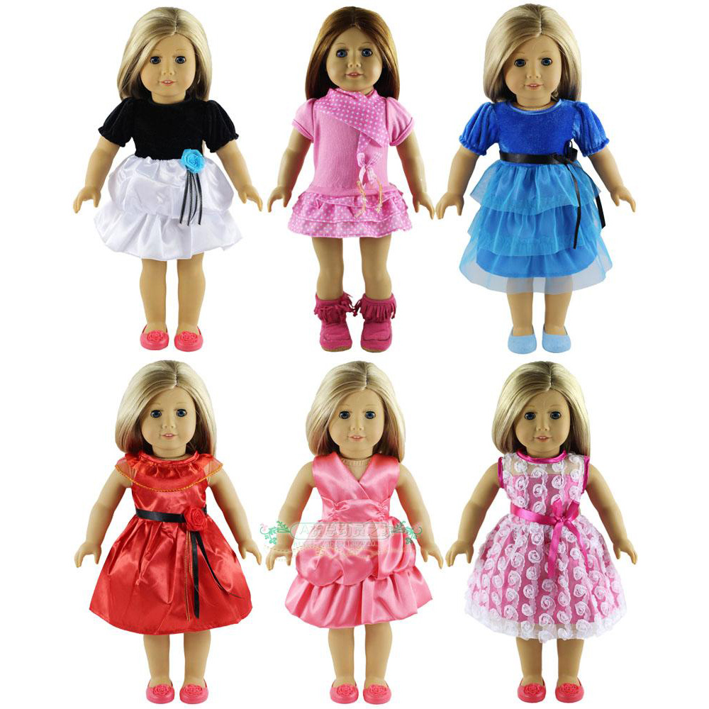 Fashion 6 Set American Girl Doll Clothes of Princess Dress for Doll Shoes for 18 America ...