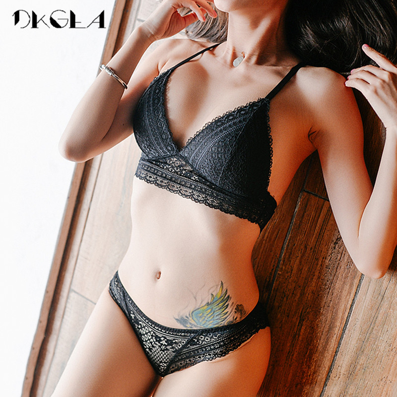 New Young Girl Seamless Vest Bra Set Plus Size 38 36 Ultrathin Cotton Women Lingerie Sexy Embroidery Lace Underwear Sets Black