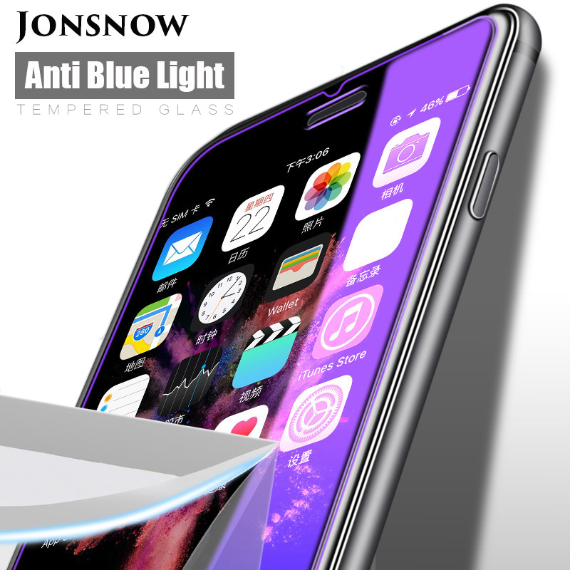 KIP71384_1_Anti Blue Light Tempered Glass for iPhone 6 6S 7 8 Plus XS XR XS Max 9H 2.5D Protective Film
