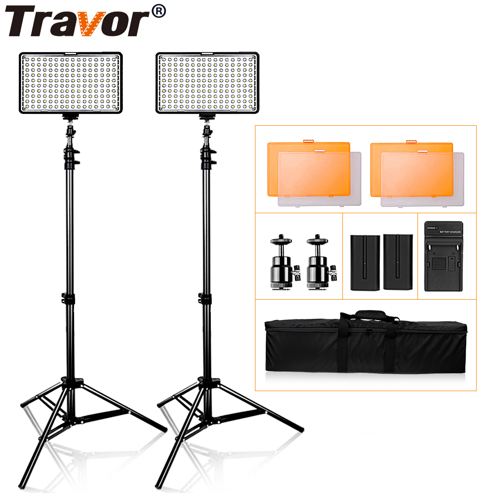 Travor TL-160S 2Set Video Light With Tripod For Video Shooting Studio Photography Dimmable Bi-color Gift 2pcs NP-F550 Battery все цены