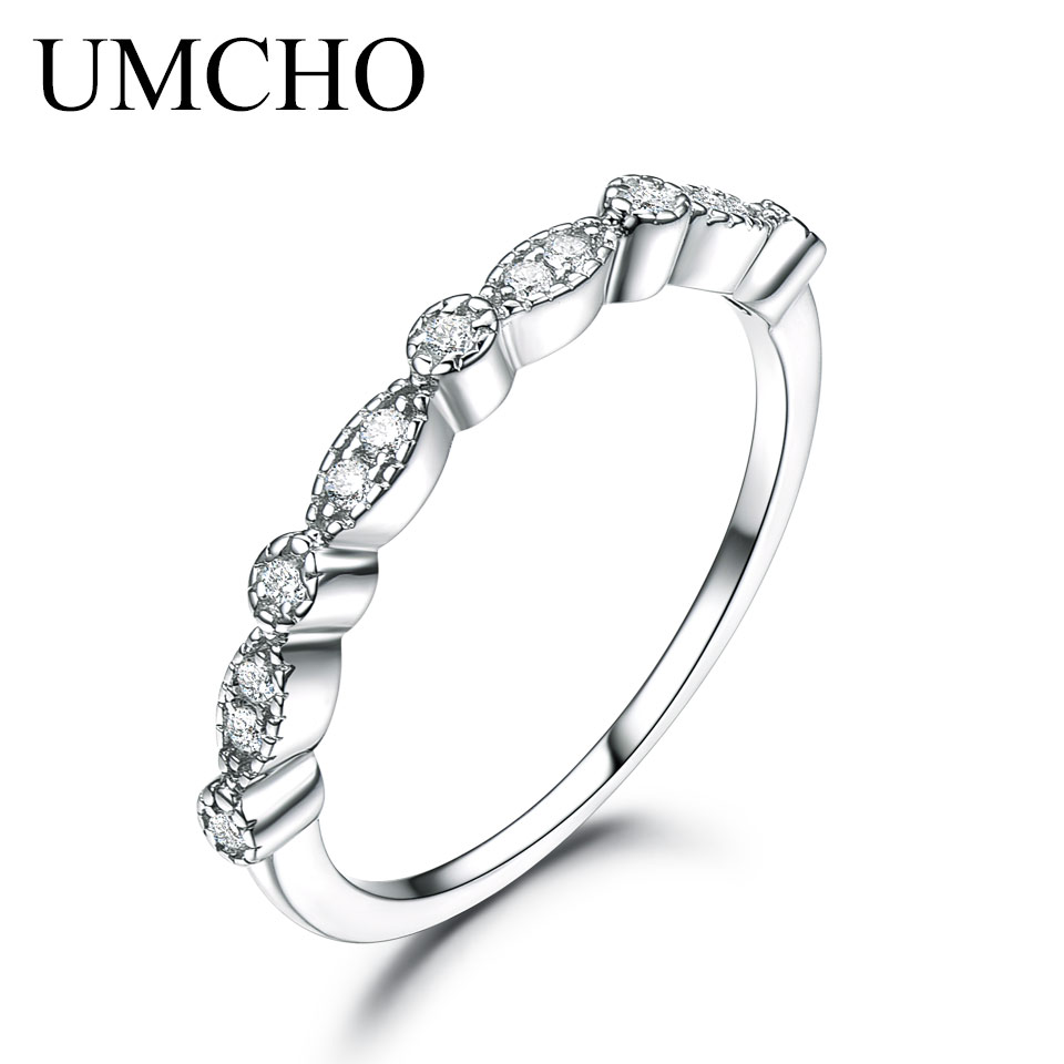 UMCHO Solid 925 Sterling Silver Rings For Women Stacked Wedding Engagement Ring Korea Fashion Silver 925 Jewelry Engraving Ring