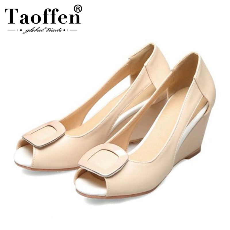 TAOFFEN Wedges Sandals Sweet Pink Women High Heels Shoes Slip On Peep Toe Shoes Daily Outdoor Club Women Footwear Size 32-43TAOFFEN Wedges Sandals Sweet Pink Women High Heels Shoes Slip On Peep Toe Shoes Daily Outdoor Club Women Footwear Size 32-43