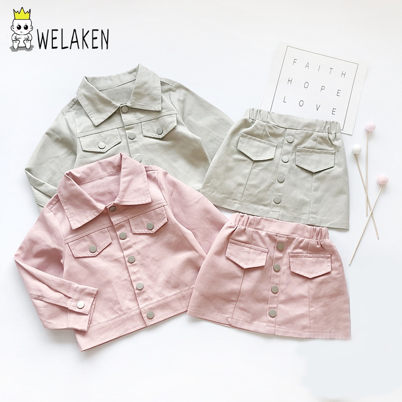 Welaken Clothing Sets For Todder Girls 2019 Leather Jacket+Short Skirt 2pcs Casual Daily Wear  Stand Collar Fall Clothes
