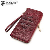 ZOOLER Genuine Leather Alligator Pattern Wallet Womens Wallets And Purses Clutch Women Zipper Leather Wallet Small