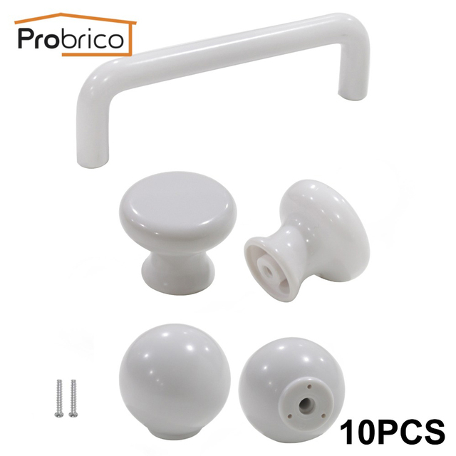 Fesselnd Probrico 10 PCS Weiß Küche Kabinett Knöpfe Und Griffe Für Möbel Schublade  Griff Schrank Pull Kunststoff